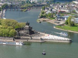 Koblenz mit Deutschem Eck an Rhein und Mosel