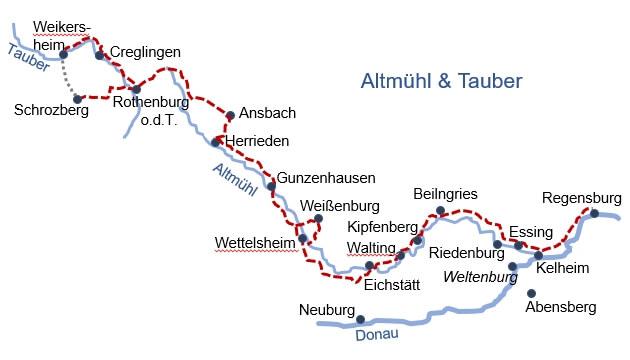 Karte Radreise Altmühltal Klassiktour