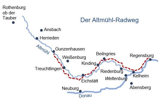 Karte Radreise Altmühltal kompakt 6 Tage