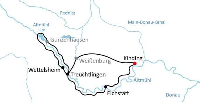 Karte Radreise Altmühltal Naturpark Rundtour