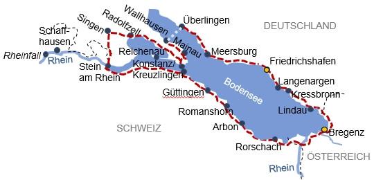 Karte zur Radreise Bodensee Erlebnistour
