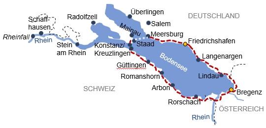 Karte zur Radreise Bodensee Familientour