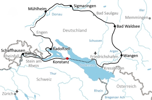 Karte Radreise Bodensee & mehr