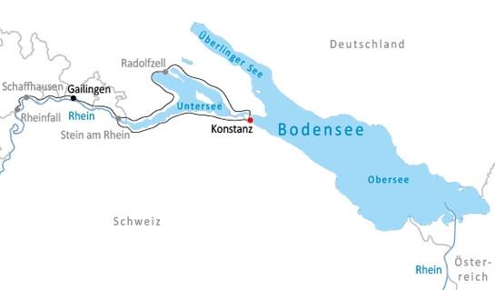 Karte Bodensee Kurztour - um den Untersee