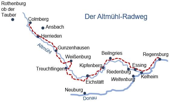 Karte Radreise Altmühltal gemütlich 8 Tage