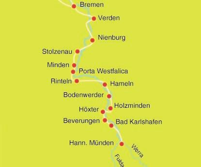 Karte Weserradweg bis Bremen