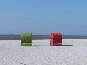 Strandkörbe auf der Insel Föhr